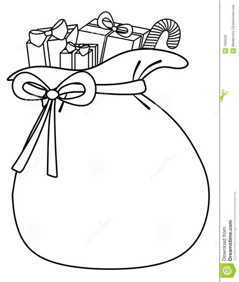 santa bag coloring page santa sack of toys background stock photos image