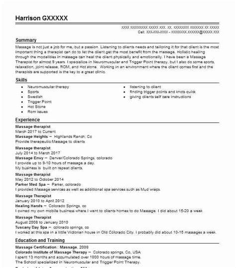 Job Resume Examples With No Experience by Best Massage Therapist Resume Example Livecareer