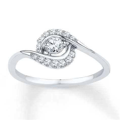 affordable engagement ring in white gold for