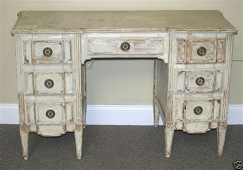 attributed jansen distressed white vanity desk by
