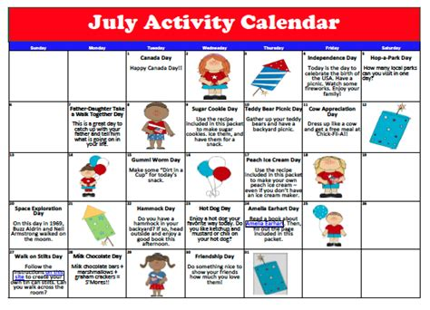 Free Activity Calendar Template mrs emily s smiles july 2014