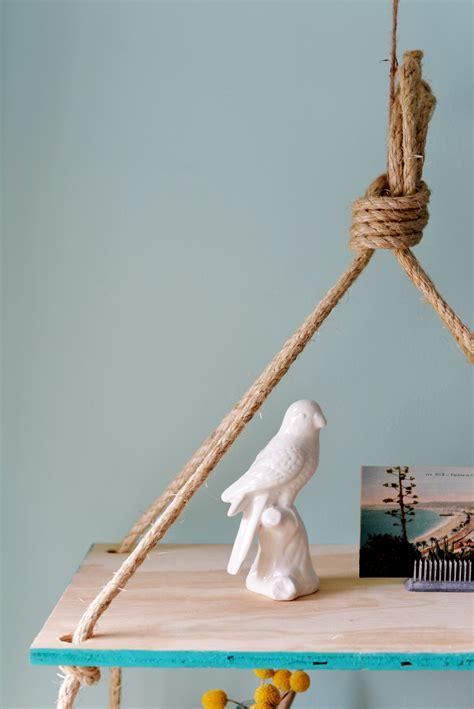 diy hanging rope shelf
