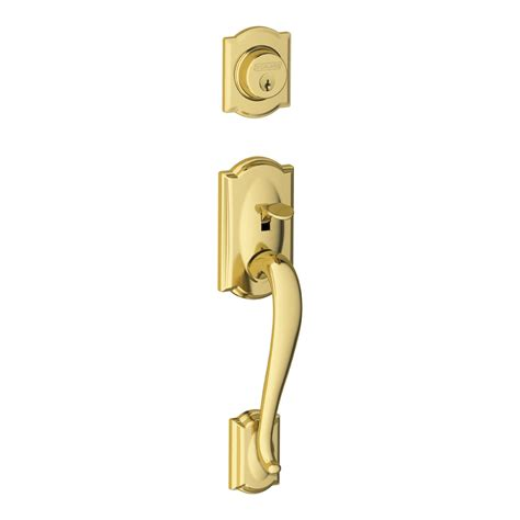 Brass Exterior Door Handles Shop Schlage Camelot Adjustable Bright Brass Entry Door Exterior Handle At Lowes