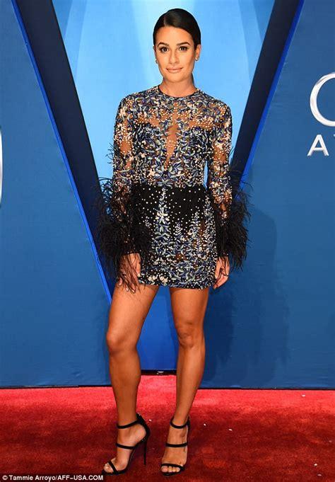 cma models lea michele models flirty sheer mini dress at cma awards