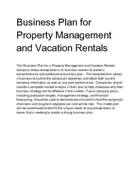 rental property business plan template free vacation rental business plan template business plan on