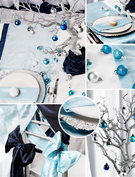 baby blue table runner blue silver winter cv linens design