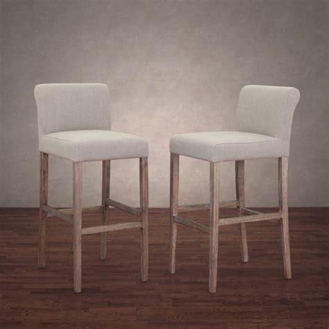 cosmopolitan beige linen bar stools set of 2