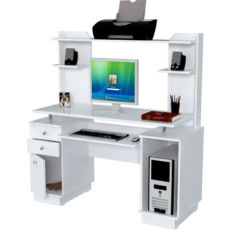 Modern Glossy White Wooden Computer Desk With Shelves And White Computer Desk With Hutch