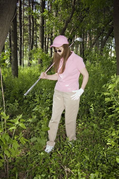 lost golf swing lady searching for lost golf ball royalty free stock
