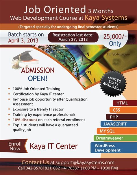 Kaya It Center Flyer For The 3month Web Development Course Starting From 3rdapril 2013 It Course Flyer Template
