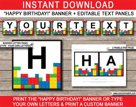 Lego Party Banner Template Happy Birthday Banner Editable Bunting Lego Happy Birthday Banner Template