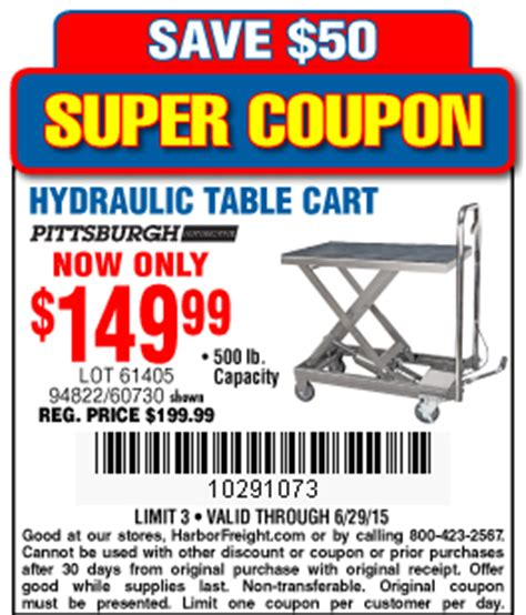 500 lb capacity hydraulic table cart harbor freight tools coupon database free coupons 25