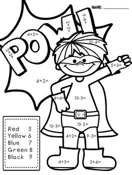superhero math coloring page superhero color by number math facts by life is great in