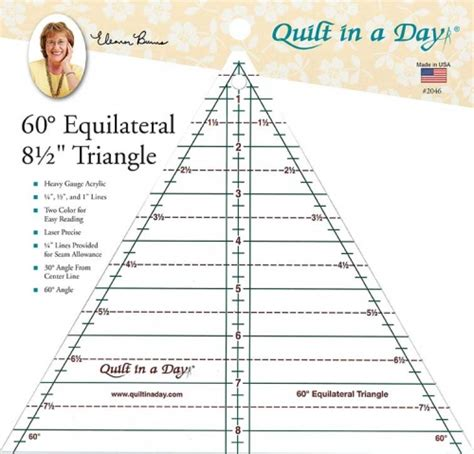 60 degree 8 5 inch triangle ruler by quilt in a day