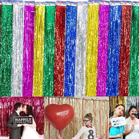 party curtains decorations string shimmer foil party curtain tinsel wedding birthday