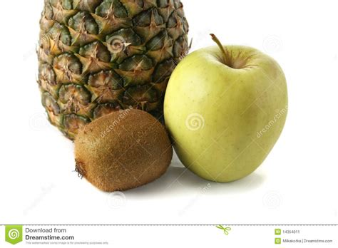 Hexagon Pineaple Apple Kiwi fruit on a white background stock image image 14354011