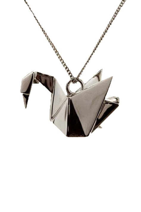 Origami Swan Necklace - origami jewellery swan necklace from bastille by corner