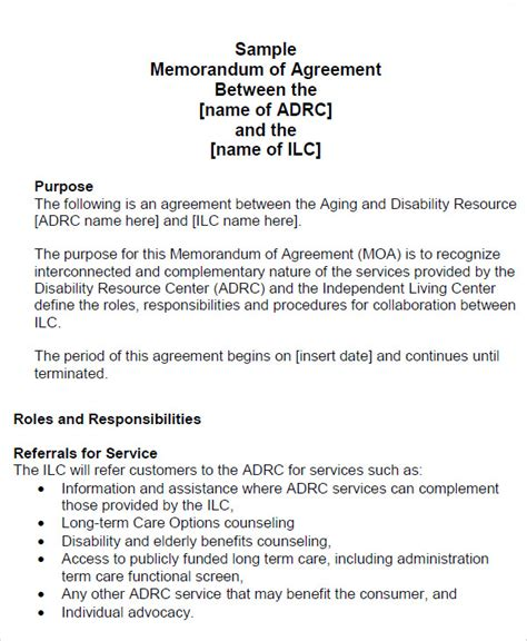 Template Memorandum Of Agreement memorandum of agreement 12 free pdf doc