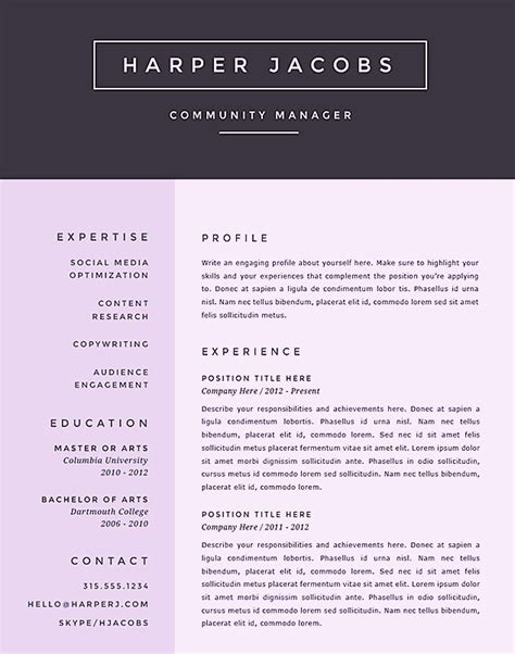 Free Creative Microsoft Word Resume Templates Creative Resume Templates Free