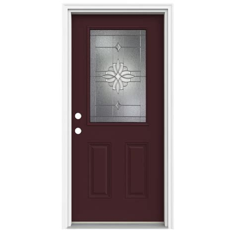Half Lite Exterior Door Shop Reliabilt Half Lite Decorative Currant Inswing Fiberglass Entry Door Common 80 In X 32 In