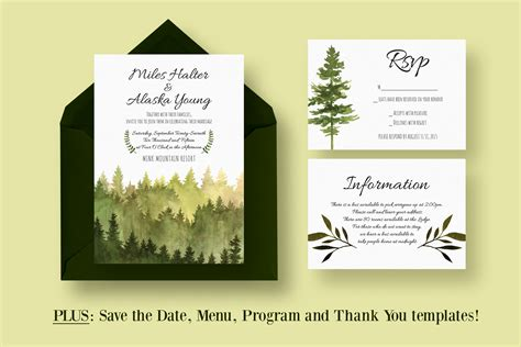 Wedding Invitations With Woods Themes by In The Woods Wedding Suite Invitation Templates On