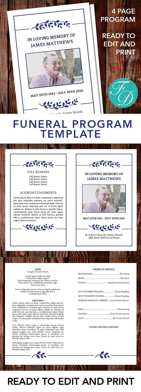 ready to edit templates sle 328 best funeral programs for obituary templates prayer cards images on