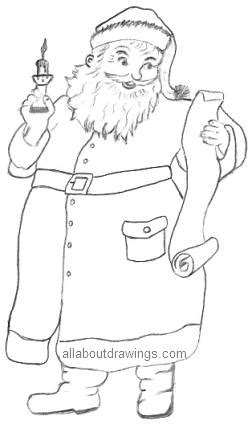 best drawi g of santa clause with chrisamas tree easy drawings in pencil