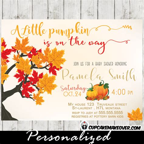 Fall Themed Baby Shower Invitations by Pumpkin Fall Themed Baby Shower Invitation Personalized Cupcakemakeover