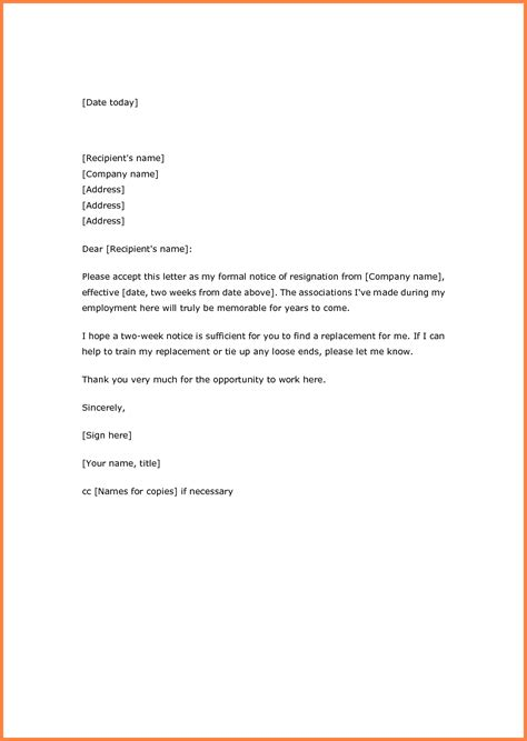 7 resignation letter two week notice exles notice letter
