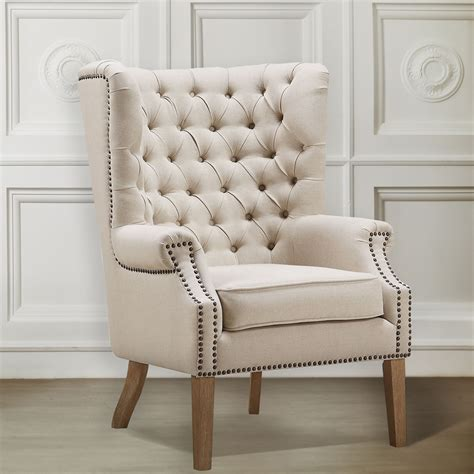 abe beige linen wing chair  tov tov  coleman furniture