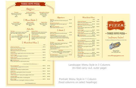 horizontal menu templates page setup imenupro help docs