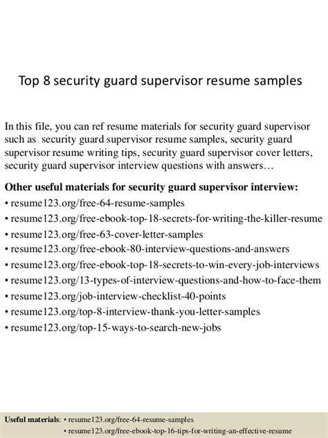 top 8 security guard supervisor resume sles
