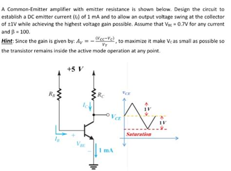 purpose of putting emitter resistor in the circuit a common emitter lifier with emitter resistance chegg