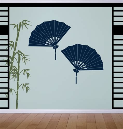 asian wall stickers asian decorative fans wall decals stickers
