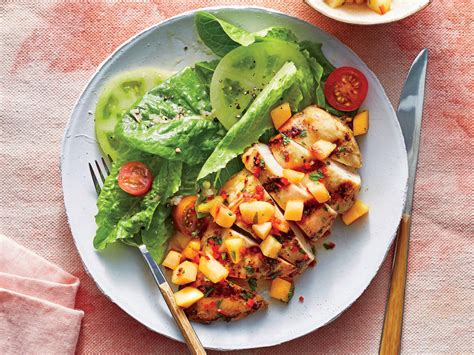 light grilled chicken recipes pan grilled chicken with peach salsa recipe cooking light