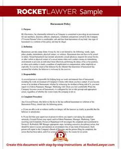 free workplace policy template workplace company harassment policy template with sle