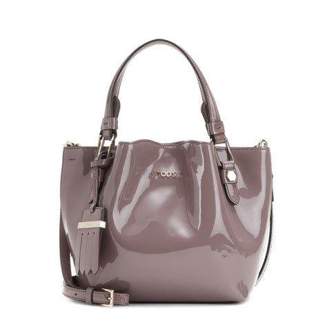 tod s flower micro patent leather bag in gray lyst