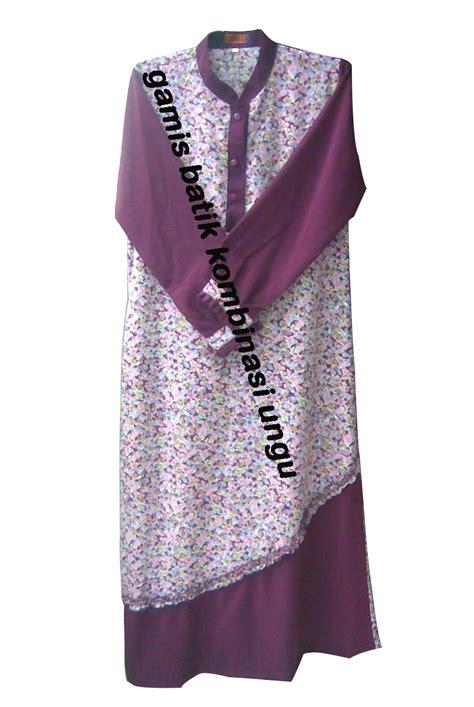 Kain Putih Spun Katun Arab azzuracollection gamis batik kombinasi ungu