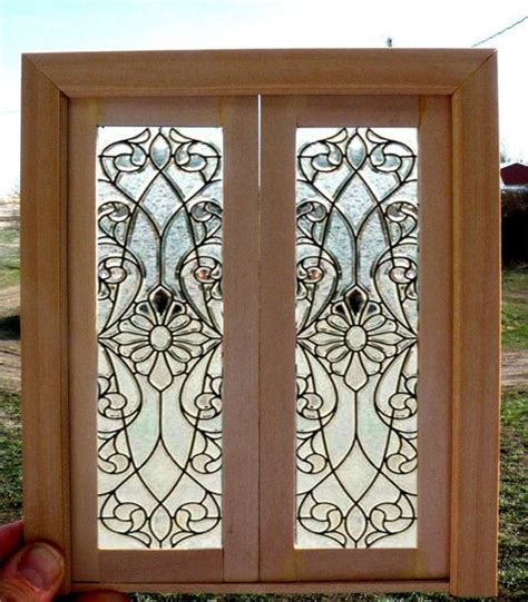 glass doll house dollhouse miniature stained glass doors miniatures pinterest dollhouse