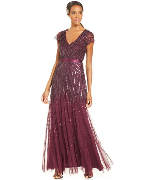 dress cap sleeve beaded sequin gown papell cap sleeve beaded sequined gown in pink lyst