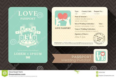 passport wedding invitation stock vector image 40341259