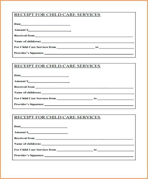 Babysitting Tax Receipt Template by Babysitting Receipt Template Child Care Receipt Child Care