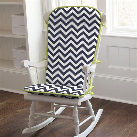 Rocking Chair Pads For Nursery Navy And Citron Zig Zag Rocking Chair Pad Carousel Designs