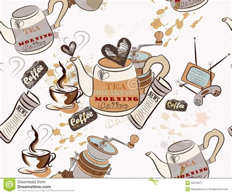wallpaper with coffee theme seamless vector wallpaper on coffee theme royalty free