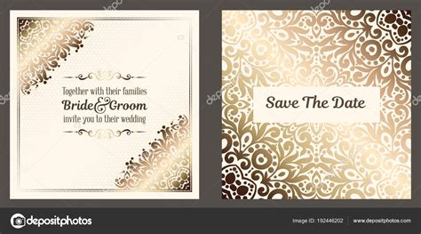 Gold Wedding Cards Templates by Gold Wedding Invitation Card Template Design Damask