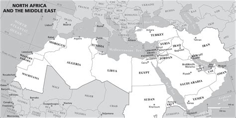 Africa And Middle East Outline Map by Map Of Northern Africa And The Middle East