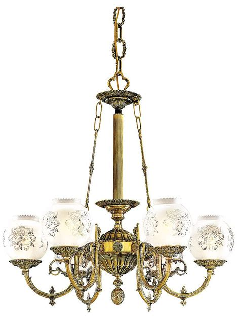 Dining Room Chandeliers With Shades Vintage Lighting Fixtures 6 Light Chandelier With Etched Glass Shades