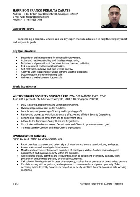 Resume Objective Statement Samples by Harrison Singapore Cv