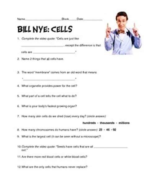 Bill Nye The Science Cells Worksheet by The World S Catalog Of Ideas
