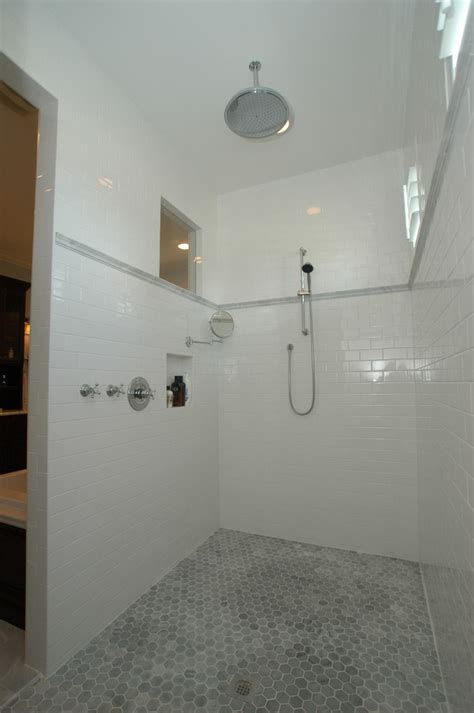 tile floor and decor subway tile shower bathroom traditional with bungalow
